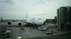 Huge A380 Airbus airplane is seen on Charles de Gaulle International Airport - stock footage
