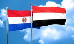 Paraguay flag with Yemen flag, 3D rendering Stock Illustration