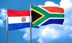 Paraguay flag with South Africa flag, 3D rendering Stock Illustration