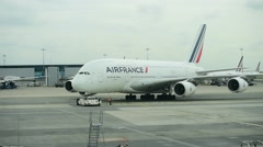 Huge A380 Airbus airplane is seen on Charles de Gaulle International Airport Stock Footage