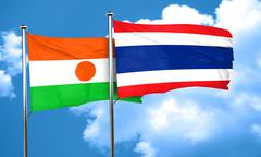 Niger flag with Thailand flag, 3D rendering Stock Illustration