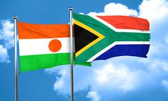 niger flag with South Africa flag, 3D rendering - stock illustration