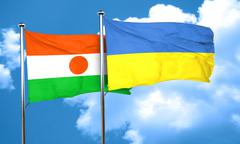 niger flag with Ukraine flag, 3D rendering - stock illustration