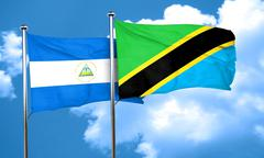 Nicaragua flag with Tanzania flag, 3D rendering Stock Illustration