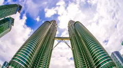 Clouds over the Petronas tower in Kuala Lumpur Stock Footage