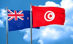 New zealand flag with Tunisia flag, 3D rendering Stock Illustration