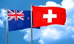 New zealand flag with Switzerland flag, 3D rendering Stock Illustration