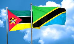 Mozambique flag with Tanzania flag, 3D rendering Stock Illustration