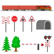 Railroad traffic way and train with cargo cars Stock Illustration