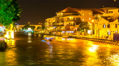 Nightly view of the river and the skyline of Melakka Stock Footage