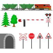 Railroad traffic way and train wagons for transportation of grain - stock illustration