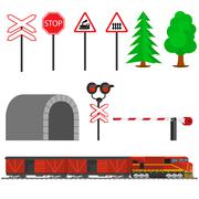 Railroad traffic way and train with boxcars. Railroad train transportation - stock illustration