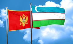 Montenegro flag with Uzbekistan flag, 3D rendering Stock Illustration