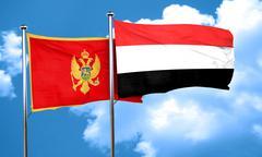 Montenegro flag with Yemen flag, 3D rendering - stock illustration