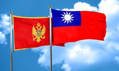 Montenegro flag with Taiwan flag, 3D rendering - stock illustration
