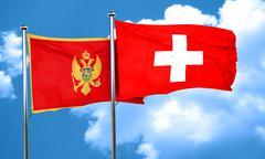 Montenegro flag with Switzerland flag, 3D rendering - stock illustration