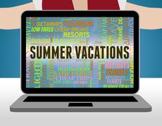 Summer Vacations Representing Summertime Holiday And Vacational Stock Illustration