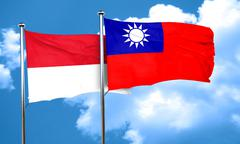 Monaco flag with Taiwan flag, 3D rendering Stock Illustration
