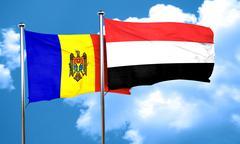 Moldova flag with Yemen flag, 3D rendering - stock illustration