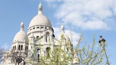 Areal view of Basilique du Sacre Coeur in Paris Stock Footage