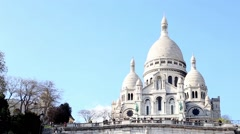 Areal view of Basilique du Sacre Coeur in Paris - stock footage