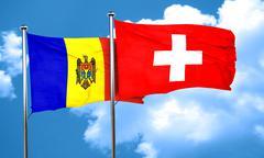 Moldova flag with Switzerland flag, 3D rendering Stock Illustration