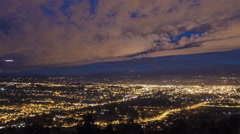 Ecuador. View on Cuenca in night. 4k time lapse. Panaramic Stock Footage