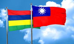 Mauritius flag with Taiwan flag, 3D rendering - stock illustration