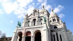 Front side of Basilique du Sacre Coeur in Paris Stock Footage