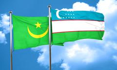 Mauritania flag with Uzbekistan flag, 3D rendering Stock Illustration