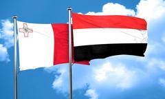Malta flag with Yemen flag, 3D rendering Stock Illustration
