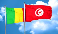 Mali flag with Tunisia flag, 3D rendering Stock Illustration