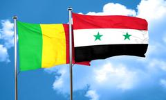 Mali flag with Syria flag, 3D rendering - stock illustration