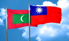 Maldives flag with Taiwan flag, 3D rendering Stock Illustration