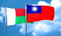 Madagascar flag with Taiwan flag, 3D rendering - stock illustration
