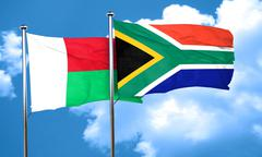 Madagascar flag with South Africa flag, 3D rendering Stock Illustration