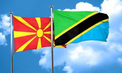 Macedonia flag with Tanzania flag, 3D rendering Stock Illustration