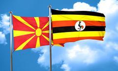 Macedonia flag with Uganda flag, 3D rendering - stock illustration