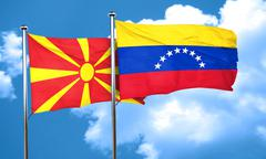 Macedonia flag with Venezuela flag, 3D rendering - stock illustration