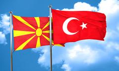 Macedonia flag with Turkey flag, 3D rendering Stock Illustration