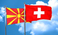 Macedonia flag with Switzerland flag, 3D rendering Stock Illustration