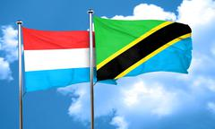 Luxembourg flag with Tanzania flag, 3D rendering - stock illustration