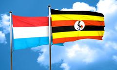Luxembourg flag with Uganda flag, 3D rendering Stock Illustration