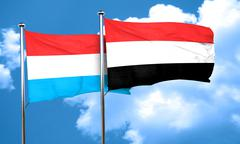 Luxembourg flag with Yemen flag, 3D rendering Stock Illustration