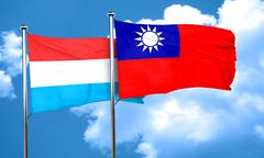 Luxembourg flag with Taiwan flag, 3D rendering Stock Illustration