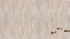 Footsteps Appearing and Disappearing on a Parquet - stock footage
