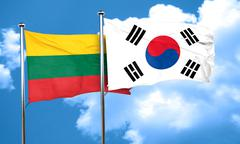 Lithuania flag with South Korea flag, 3D rendering - stock illustration