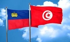 Liechtenstein flag with Tunisia flag, 3D rendering - stock illustration