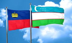 Liechtenstein flag with Uzbekistan flag, 3D rendering Stock Illustration