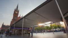 King's Cross St. Pancras tube station Time-Lapse at sunset Stock Footage